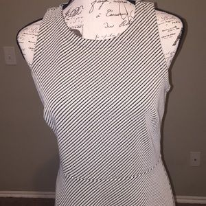 Loft black white textured skater dress sz 6